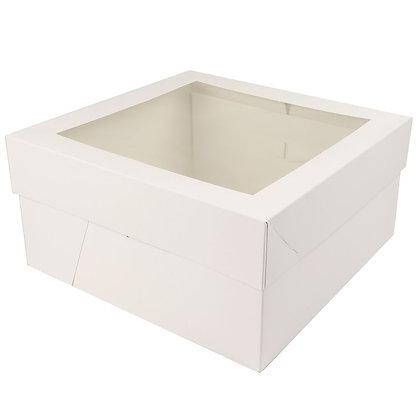 "O'Creme White Cake Box Bottom with Separate-Piece Window Top; 12"" x 12"" x 6"" H"