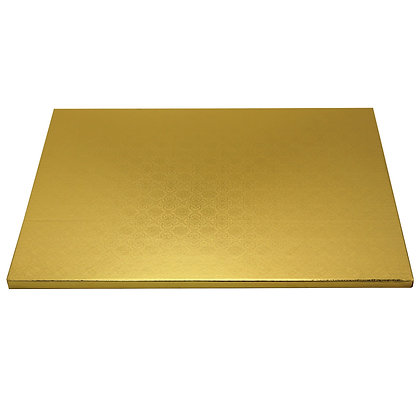 "O'Creme Rectangular Gold Foil Cake Board, 1/2"" Thick"
