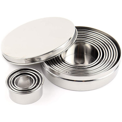 O'Creme Stainless Steel Round Cookie Cutters, Set of 12
