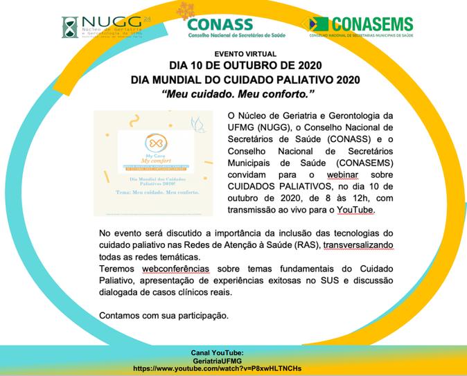 10 OUTUBRO - DIA MUNDIAL DO CUIDADO PALIATIVO 2020