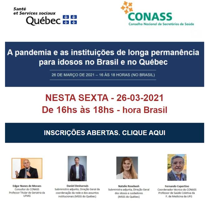 Seminário Virtual - A pandemia e as ILPI's no Brasil e no Québec