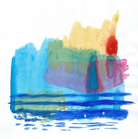 Sunrise III, Mixed media on paper.jpg