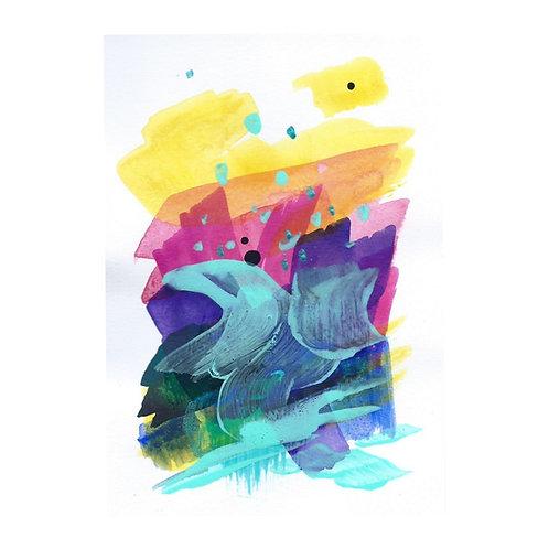 Sunrise mini I, Original artwork, 10 x 14 cm, Mixed Media on high quality paper
