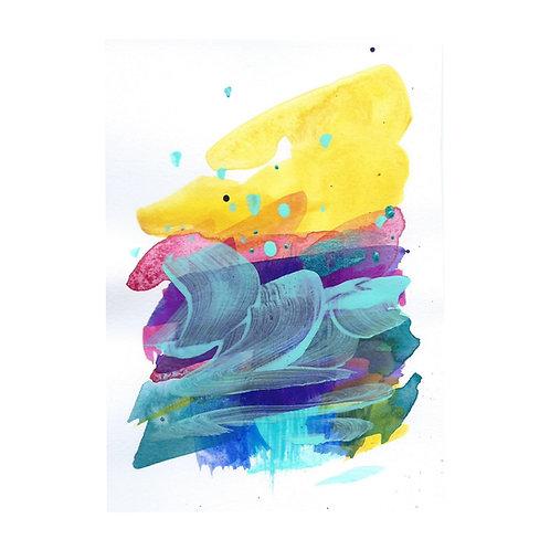 Sunrise mini III, Original artwork, 10 x 14 cm (A6), Mixed Media on paper