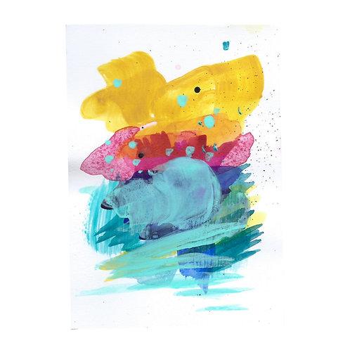 Sunrise mini II, Original artwork, 10 x 14 cm (A6), Mixed Media on paper
