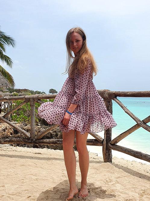 Платье из шифона лиловое в горошек