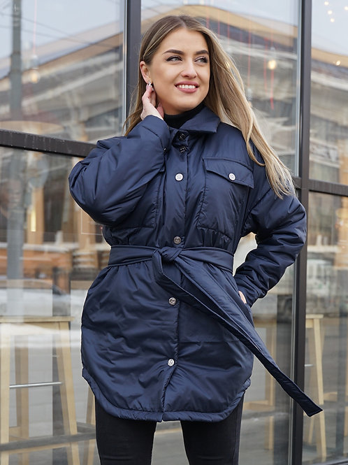 Куртка-рубашка женская синяя