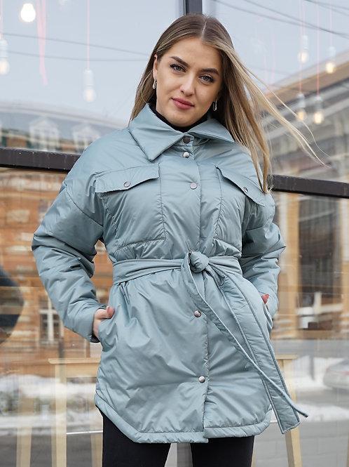 Куртка-рубашка женская светло-синяя
