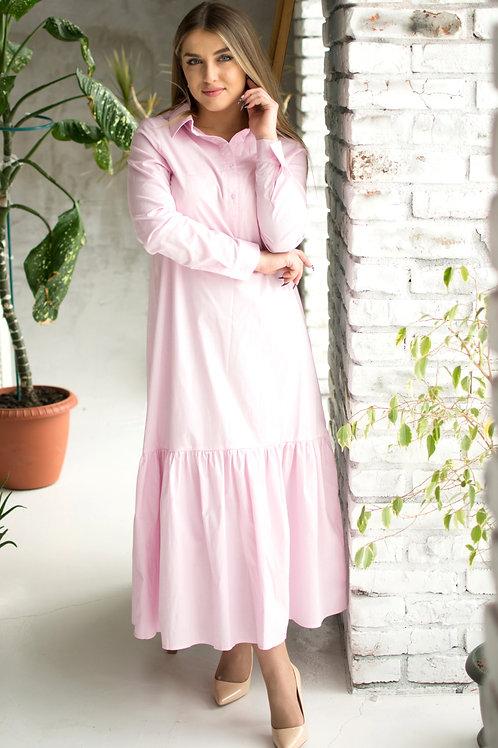 Платье-рубашка длинная пудра