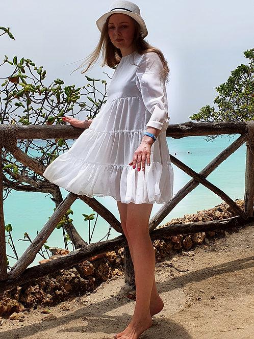 Платье-сарафан летнее шифоновое белое с воланами