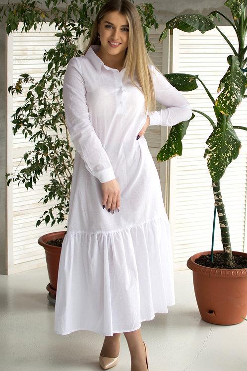 Платье-рубашка длинная с воланом белая