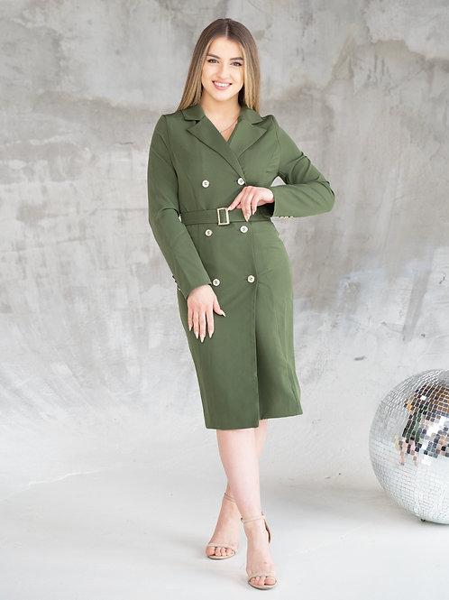 Длинное платье-пиджак с поясом