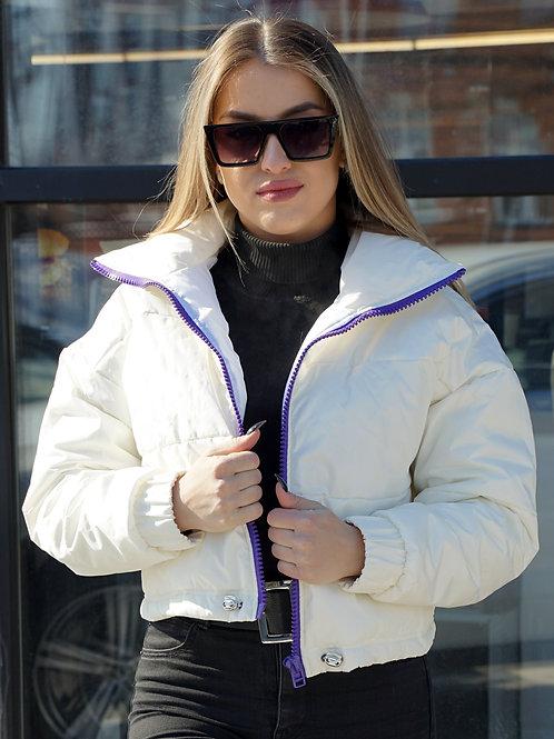 Куртка молочная с фиолетовой молнией