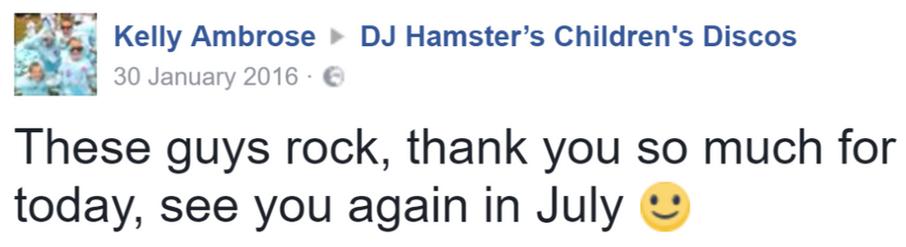 2016 Kelly Ambrose - DJ Hamster - Facebo