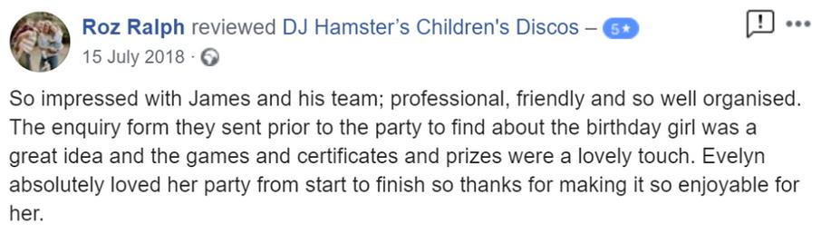 2018 - Roz Ralph - DJ Hamster - Facebook