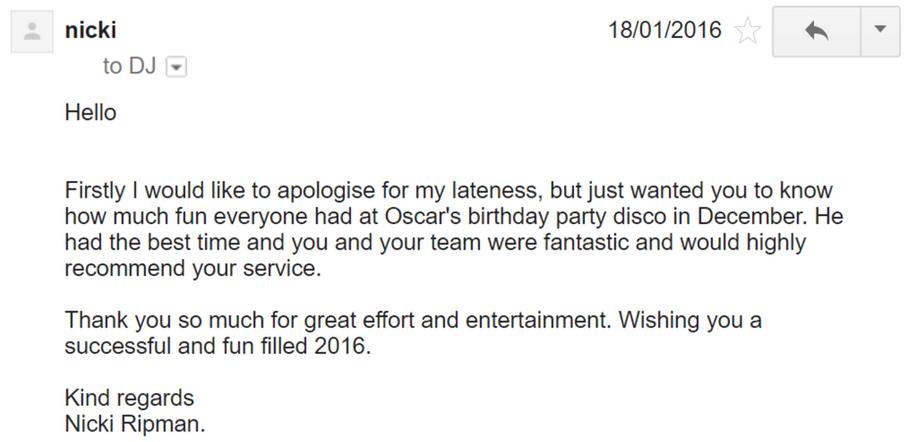 2016 - Nicki Ripman - DJ Hamster - Email