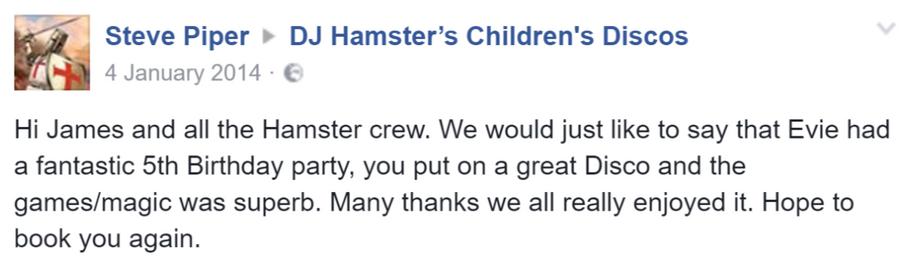 2014 Steve Piper - DJ Hamster - Facebook