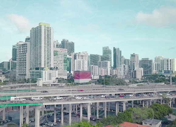 Miami Traffic with Buildings in the Background