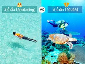 ดำน้ำตื้น (Snorkelling) VS ดำน้ำลึก (SCUBA) ต่างกันยังไง?