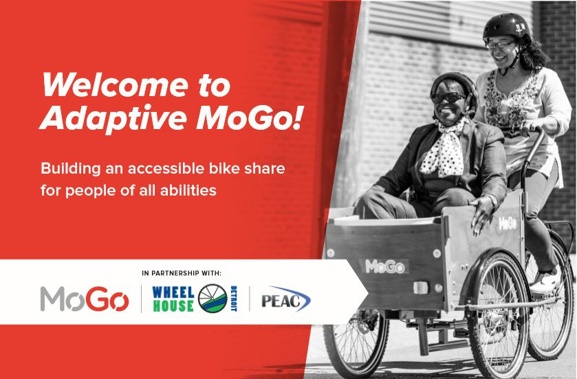 Red Adaptive MoGo flyer advertising a bike share service; two women on the flyer are sharing an adaptive bicycle