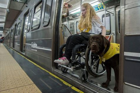 A woman in a wheelchair is entering a subway car.