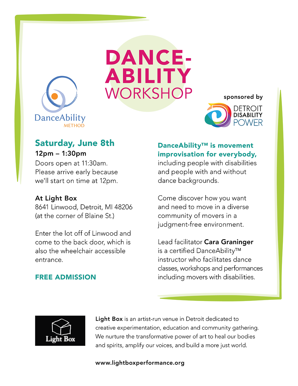 DANCE-ABILITY Workshop Flier with event details