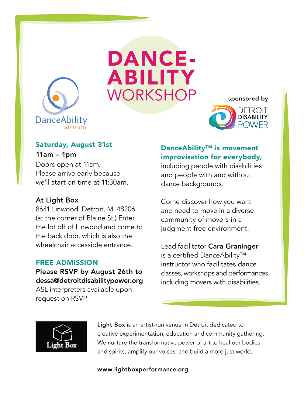 DANCE-ABILITY WORKSHOP flyer