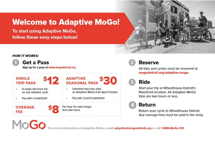 Adaptive MoGo flyer advertising pricing; $12 for a single trip pass, $30 for a seasonal pass, $8 per hour over two hour ride