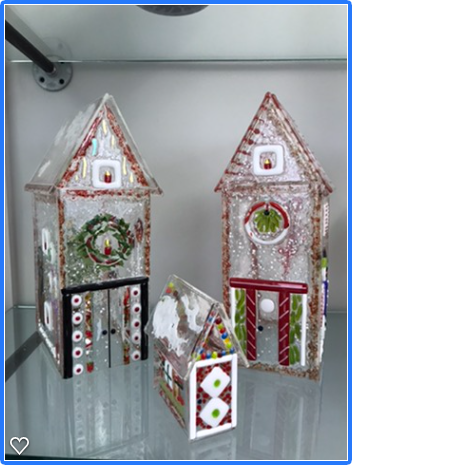 Fused Glass Christmas Houses