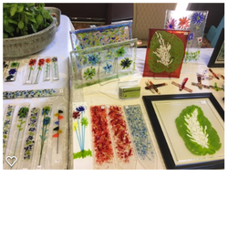 Fused glass plant stakes