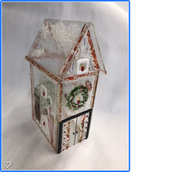 Glass gingerbread house side view
