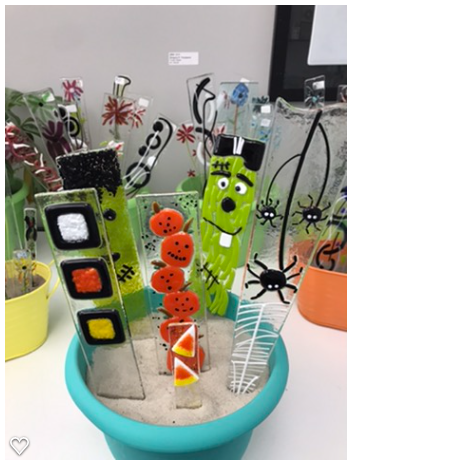 Fused Glass Halloween Plant Stakes