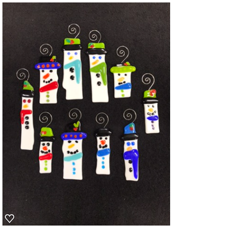 Fused Glass Snowmen Ornaments