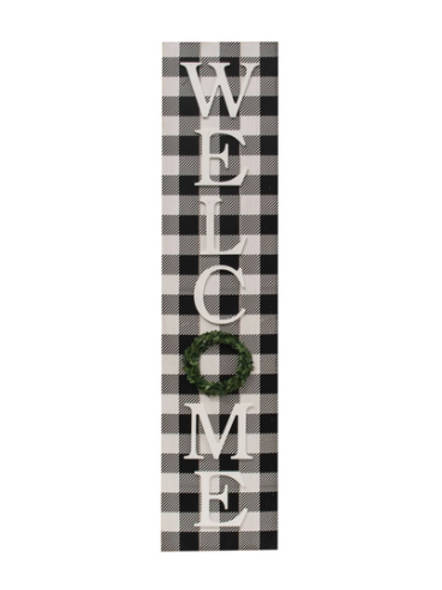 Buffalo Check Welcome Sign W/Easel