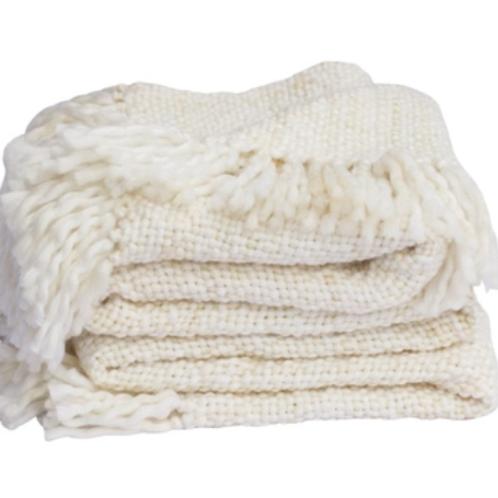 Marled Basketweave Plush Knit Throw