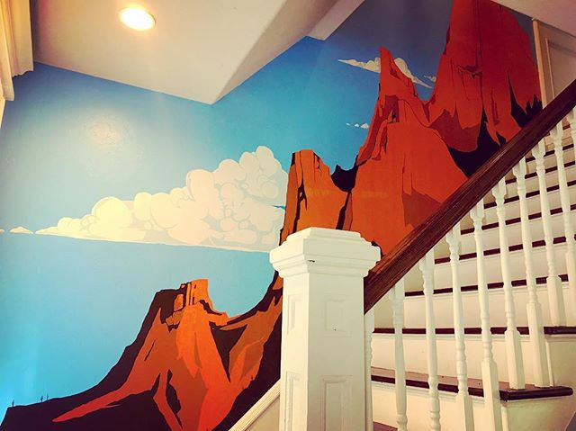 This mural decorates the stairwell of a private home in Oklahoma City.