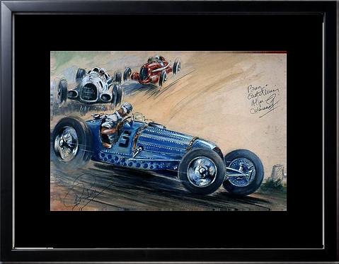Bugatti Auto Union Alfa  40x60 cadre noir