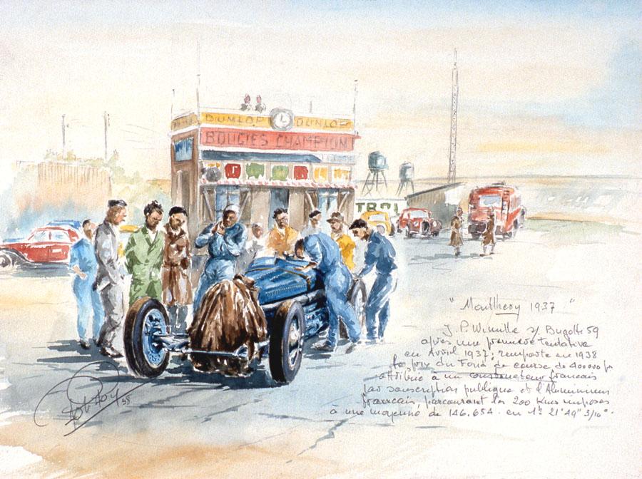 Montlhery 1937 Prime fond de course.
