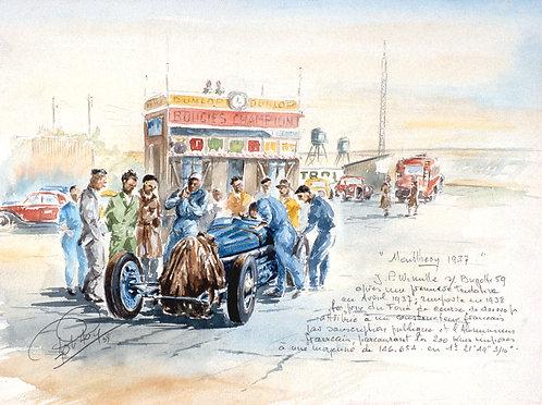 Montlhery 1937 Prime de Course Papier d'Art
