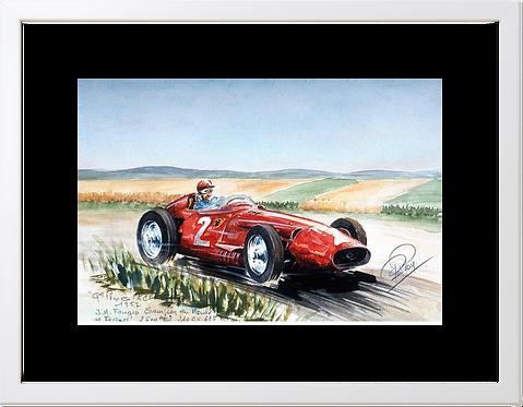 Fangio  1957 40x60 White Frame