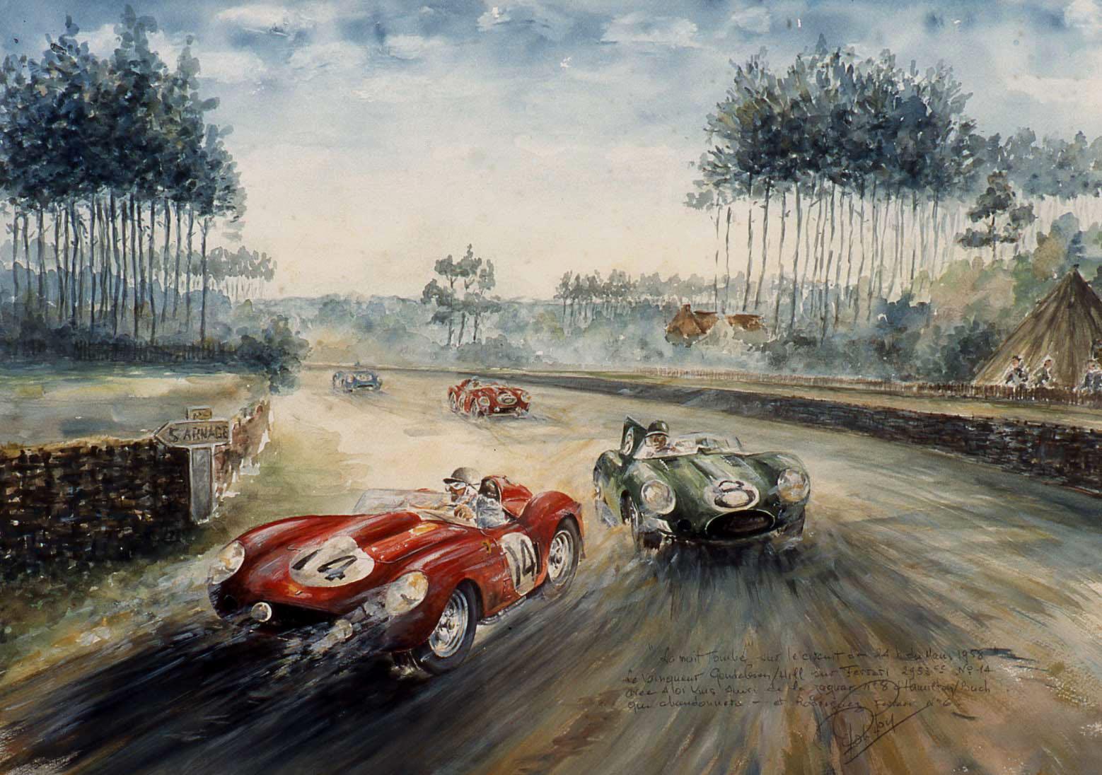 Le Mans 1958 Ferrari Jaguar
