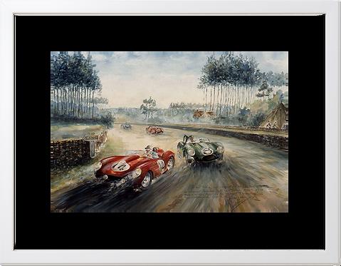 Le Mans 1958  40x60 Cadre Blanc