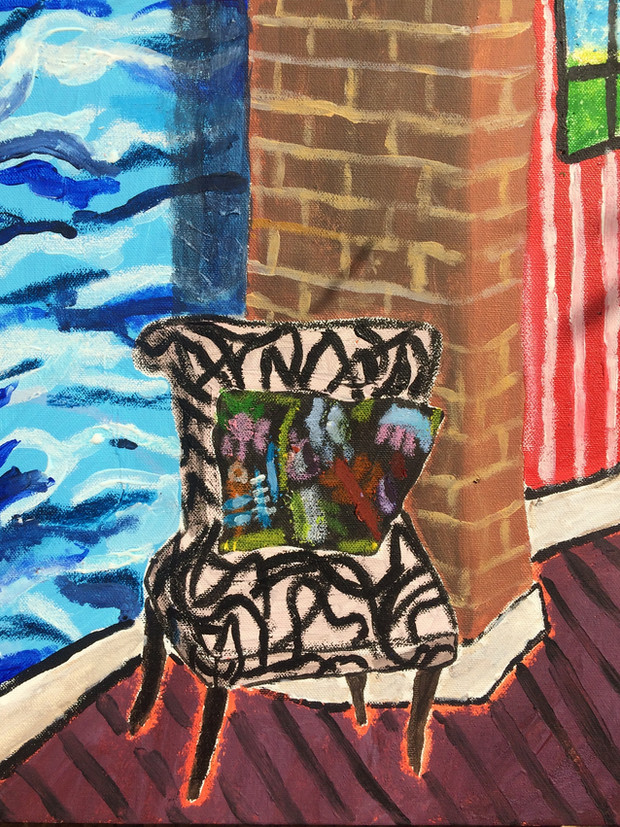 Chair, 36 cm x 25 cm, acrylic and oil pastels on canvas