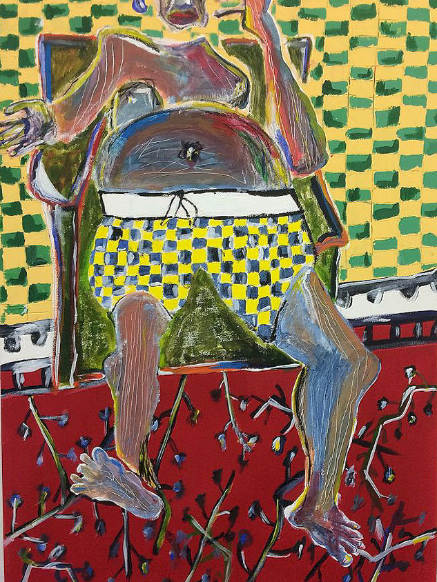 Fat Man, 102 cm x 66 cm, acrylic and pastels on canvas