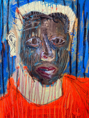 Look Miserable for Your Passport Photo, 40 cm x 30 cm, acrylic and oil pastel on canvas
