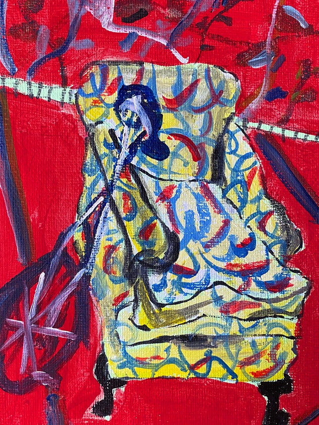 Anyone Want a Unicycle? Will Chuck an Armchair in Too, 21 cm x 15 cm, acrylic on canvas