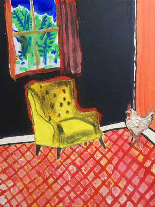 Chicken Run, 36 cm x 25 cm, acrylic and oil pastel on canvas