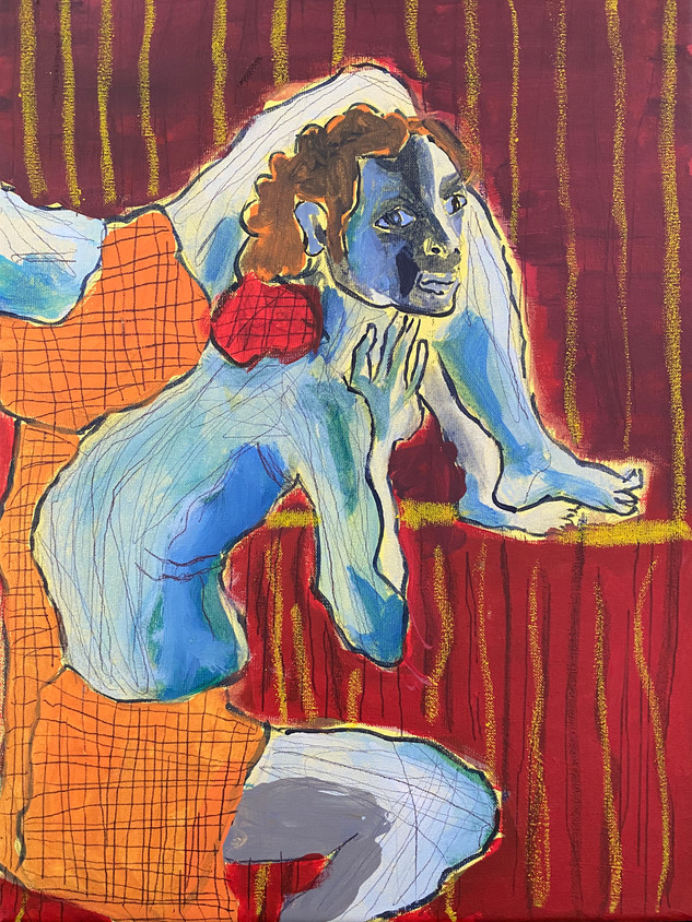 Ispirato a Pontormo, 36 cm x 25 cm, acrylic and oil pastel on canvas