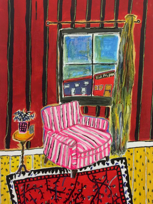 Striped Chair, 90 cm x 70 cm, acrylic and oil pastel on canvas