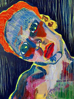Self Portrait, 36 cm x 25 cm, acrylic and gouache on canvas